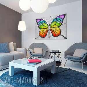 liście obraz na płótnie - motyl kolory