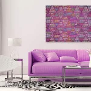 różowe obrazy kropki obraz na płótnie - trójkąty