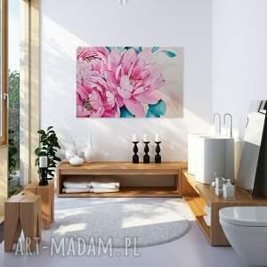 zielone kamelia obraz na płótnie - kwiaty różowy