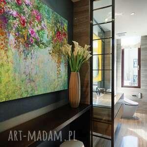 zielone obrazy ogród obraz na płótnie - kwiaty