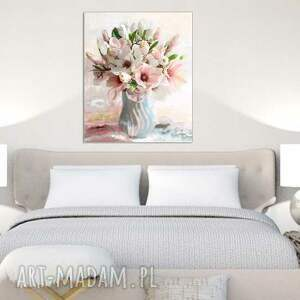niepowtarzalne kwiaty obraz na płótnie magnolie w wazonie