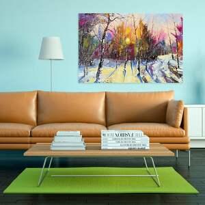 drzewa obraz na płótnie - las zima