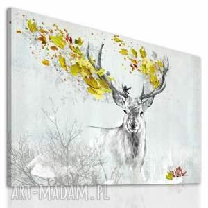 szare liście obraz na płótnie - 120x80cm jeleń