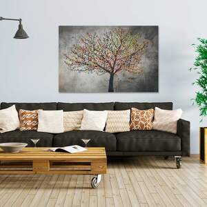 czarne obrazy liście obraz na płótnie - drzewo