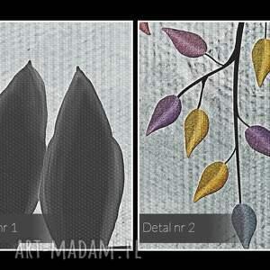 wyraziste liście obraz na płótnie - ptaki gałęzie