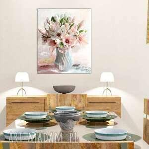 niepowtarzalne magnolie obraz na płótnie w wazonie