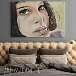 kobieta obrazy beżowe obraz na płótnie - portret