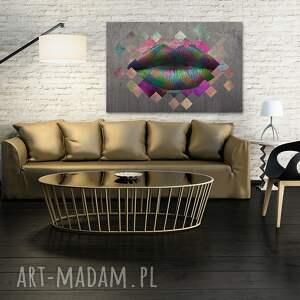 fioletowe obrazy metaliczny obraz na płótnie - metaliczne usta