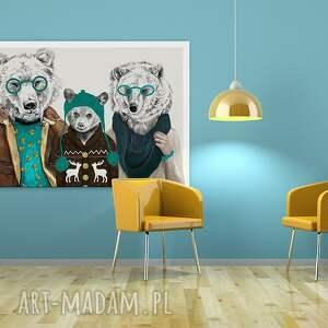 turkusowe obrazy grafika obraz na płótnie - 120x80cm rodzina
