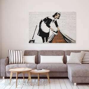 banksy obrazy brązowe obraz na płótnie - pokojówka