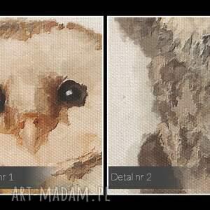 awangardowe obrazy natura obraz na płótnie - sowy tryptyk