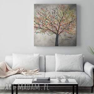 drzewo szare obraz na płótnie - liście
