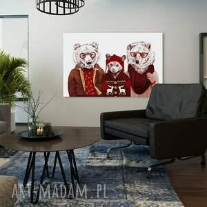 obrazy niedźwiedź obraz na płótnie - 120x80cm rodzina