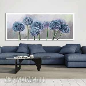 niebieskie nowoczesny obraz na płótnie 120x50 - czosnek