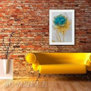 żółte obrazy nowoczesny obraz na płótnie - kwiat turkus