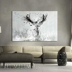 białe obrazy jeleń obraz na płótnie 120x80 -