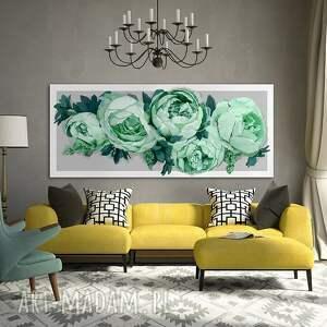 zielone obrazy piwonie obraz na płotnie 120x50 -