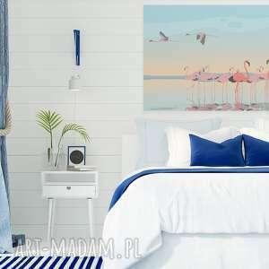 ptaki obrazy obraz na płótnie - flamingi
