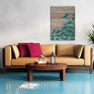 obraz na płótnie - ptaki drewno - 50x70 cm (10001) - liście