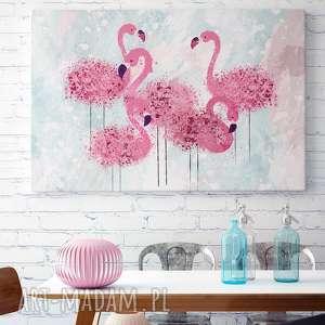 białe obrazy ptaki obraz na płótnie - flamingi różowy