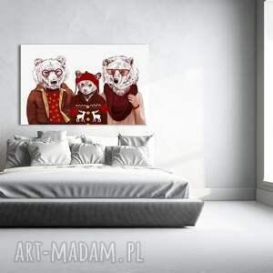 czerwone obrazy niedźwiedź obraz na płótnie - 120x80cm rodzina