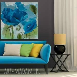 rośliny obraz na płótnie - niebieskie maki