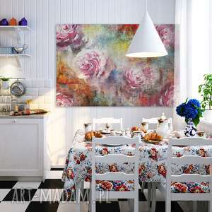 róże obraz na płótnie - kolorowy