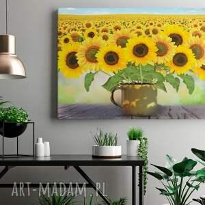 zielone słonecznik obraz na płótnie - kwiaty
