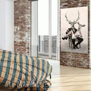 czarne ślub obraz na płótnie - 80x120cm deer
