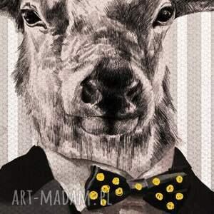 obraz szare na płótnie - 80x100cm deer