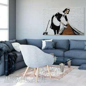 białe obrazy streetart obraz na płótnie - banksy pokojówka