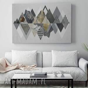 szare trójkąty obraz na płótnie - góry