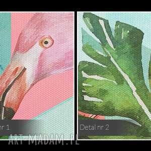obraz na płótnie - flamingi egzotyczny liście - 120x80 cm (94001) tropikalny
