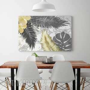 tropikalny obraz na płótnie - liście złoty
