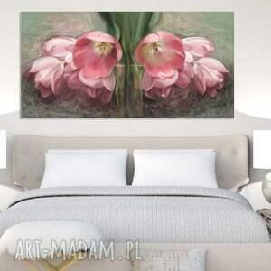 brązowe obrazy tulipany obraz na płótnie 100 x 50, kwiaty