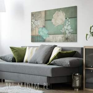 turkusowe vintage obraz na płótnie - kwiaty zielony
