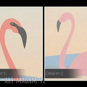 intrygujące obrazy ptaki obraz na płótnie - flamingi