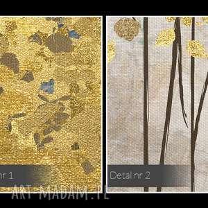 niesztampowe wystawny obraz na płótnie - złote drzewa