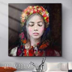 intrygujące obrazy obraz na płótnie lady folk 100x100