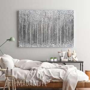 zimowy obraz na płótnie - szary biały