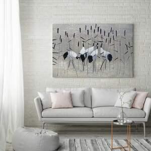 hand made obrazy żurawie obraz na płótnie - nad wodą