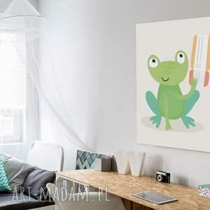zielone żaba obraz na płótnie - dziecięcy