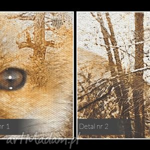 oryginalne zwierzę obraz na płótnie - lisy drzewa