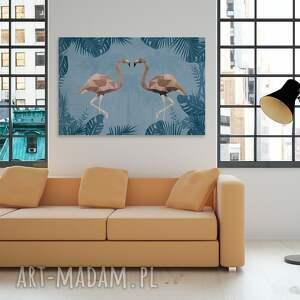 beżowe obrazy zwierzęta obraz na płótnie - flamingi
