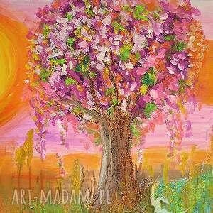 pomarańczowe ezoteryczny obraz - narodziny - akryl