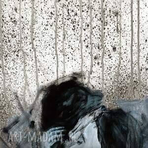 szare obraz do salonu ręcznie malowany 50 x 70