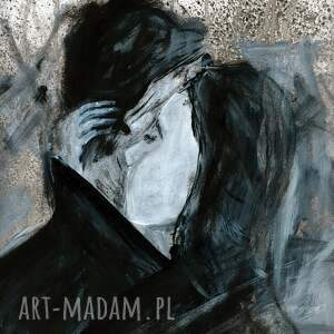 obrazy autorskie białe obraz ręcznie malowany 50 x 70