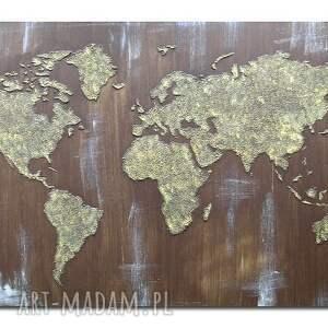 brązowe obrazy świata obraz ręcznie malowany mapa