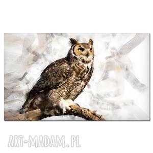 brązowe sowa obraz 3 -120x70cm
