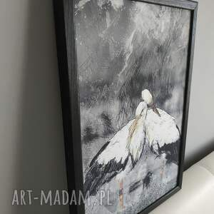 szare obraz z-aniołem w ramie anioł 1r - 73x52cm